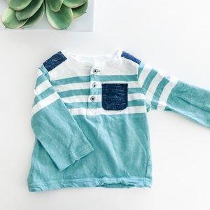 First Impressions Teal Blue Pocket Long Sleeve